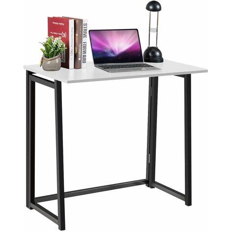 COSTWAY Schreibtisch Klapptisch Computertisch Falttisch Arbeitstisch Buerotisch Bueromoebel 80x45,5x73,5cm Weiss
