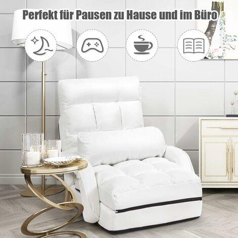 Rot Liegebett mit Armlehnen und Kissen COSTWAY Klappsofa verstellbar Bodenstuhlsofa gepolstert f/ür Zuhause und B/üro
