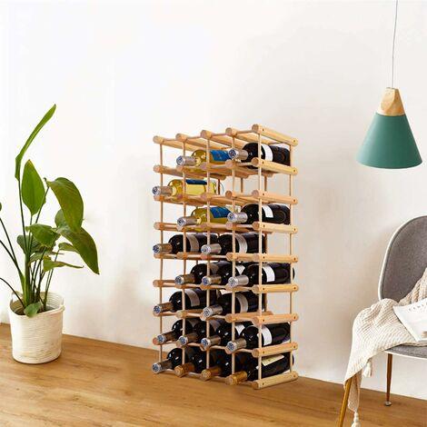 COSTWAY Weinregal 40 Flaschen, Flaschenregal Holz, Flaschenstaender Weinflaschenhalter Weinstaender 85x44x24cm