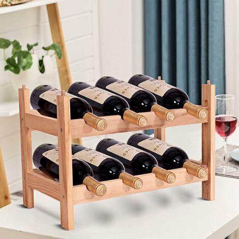 COSTWAY Weinregal aus Holz, Flaschenregal mit 2 Ebenen, Flaschenstaender für 8 Flaschen, Weinflaschenhalter stapelbar, Weinstaender erweiterbar, Weinhalter 43 x 25 x 31 cm