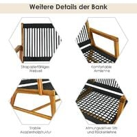 COSTWAY Gartenbank Holz Holzbank Parkbank 2 Sitzer Gartenmoebel Sitzbank Terrassenbank für Balkon, Garten, Veranda 118x75x81cm