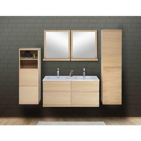 Ensemble salle de bain chêne 120 cm meuble + vasque + 2 miroirs + 2 colonnes ENIO - Bois Clair