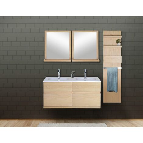 Ensemble salle de bain chêne 120 cm meuble + vasque + 2 miroirs + module rangement ENIO - Bois Clair