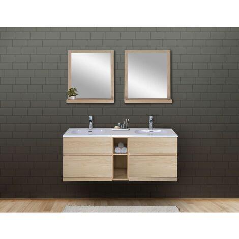Ensemble salle de bain chêne 140 cm meuble + vasque + 2 miroirs ENIO - Bois Clair