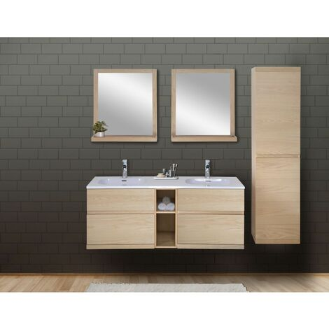 Ensemble salle de bain chêne 140 cm meuble + vasque + 2 miroirs + colonne ENIO - Bois Clair