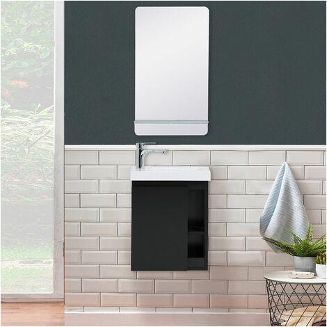 Lave-mains Noir Carbone avec vasque Blanche HAMPTON + Miroir - Noir