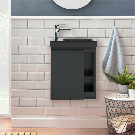 Meuble Lave-mains Noir Carbone avec Vasque Noire HAMPTON - Noir