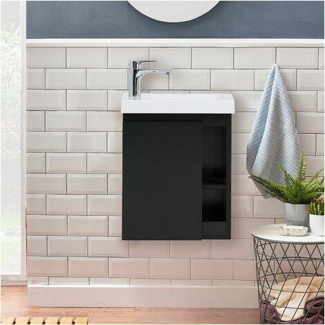 Meuble Lave-mains Noir Carbone avec Vasque Blanche HAMPTON - Noir