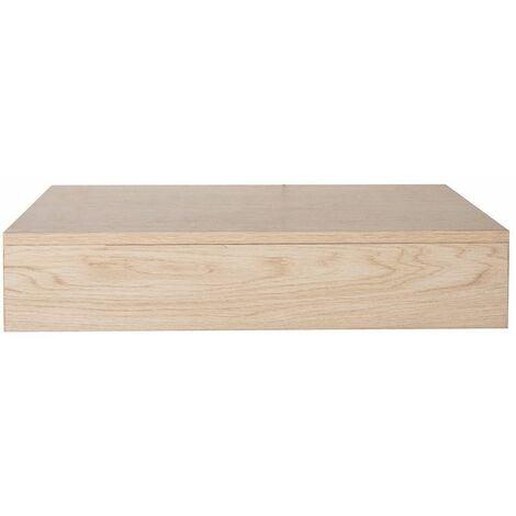 Plan de toilette suspendu pour vasque WILL - 60 cm - Ep. 12 cm + Equerres invisibles - Décor Chêne