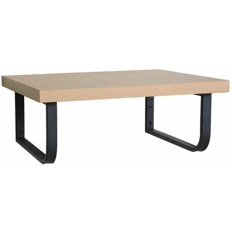 Plan de toilette suspendu pour vasque WILL - 60 cm + Equerres Métal Noir Mat - Décor Chêne / Effet Béton - Décor chêne