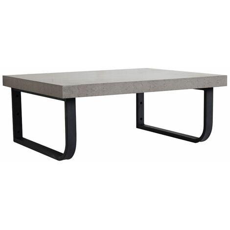 Plan de toilette suspendu pour vasque WILL - 60 cm + Equerres Métal Noir Mat - Décor Chêne / Effet Béton - Béton
