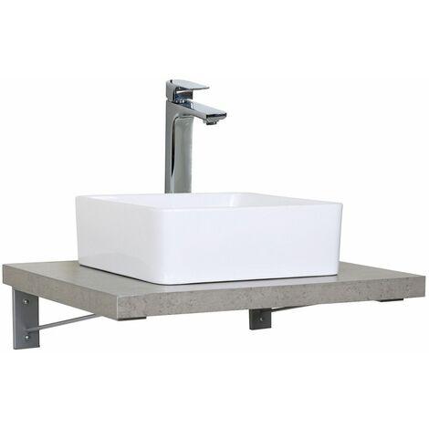 Plan de toilette suspendu pour vasque WILL - 60 cm + Equerres Invisibles - Décor Chêne / Effet Béton - Béton