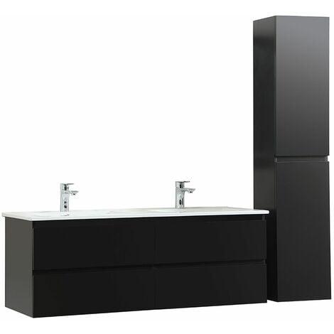 Meuble de Salle de Bain Double Vasque 120 cm + Colonne Noir Carbone SORRENTO - Noir