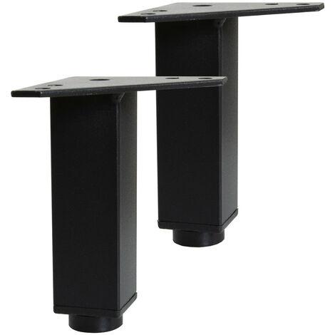 Pieds réglables WILL - Jeu de 2 pieds réglables pour Meuble de Salle de Bain - Noir Mat - Noir