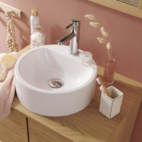 Vasque ronde blanche à poser - Résine 37 cm NORI - Blanc