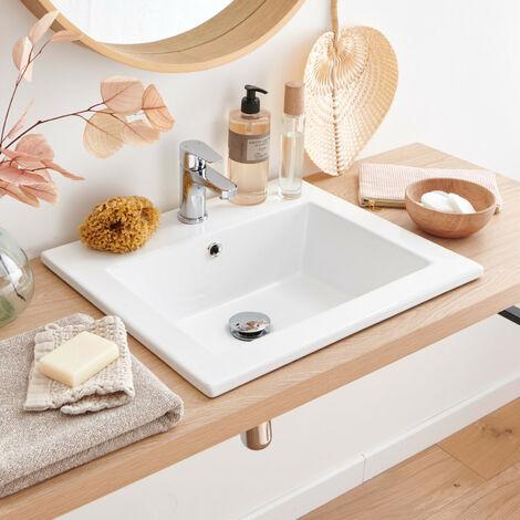 Vasque Salle de Bain à Encastrer en Céramique Blanche L50 cm LINA - Blanc