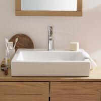 Vasque Salle de Bain Rectangulaire à Poser en Céramique Blanche L48 x P38 cm PADI - Blanc