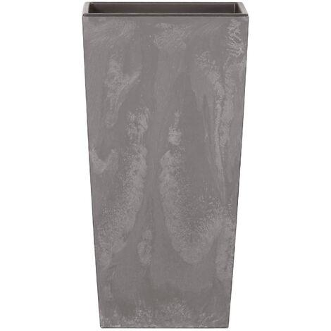 Vaso di fiori Prosperplast Urbi in plastica effetto quadrato alto 26,6 L CON vasca color grigio chiaro 50 (altezza) x 26,5 (larghezza) x 26,5 (profondità) cm