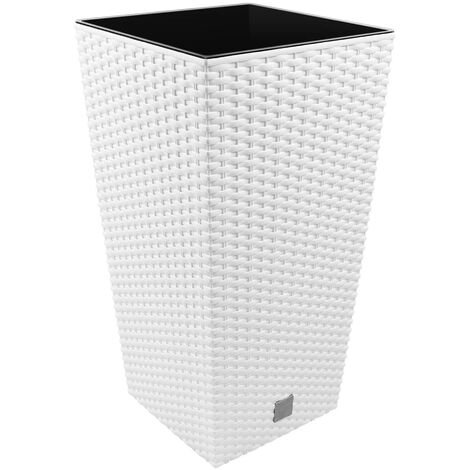 Vaso di fiori quadrato alto 19 L Prosperplast Rato in plastica CON serbatoio in colore bianco, 45 (altezza) x 24 (lunghezza) x 24 (profondità) cm