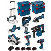 BOSCH Kit PSL8P4C+Caddy (GST18V-LIB+GKS18V-57G+GDX18V-200C+GBH18V-26F+GSA18V-LIC+GLIVariLED+GSB18V-LI+GWS18-125V-LI+4x5,0Ah)