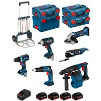 BOSCH Kit PSL6P4MC (GWS18-125V-LI+GSR18V-60C+GOP18V-28+GDS18V-EC 250+GSR18V-EC TE+GBH18V-26F+4x5,0AhGAL1880CV+4xL-Boxx+Caddy)