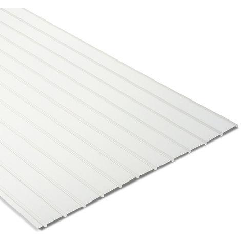 """main image of """"Tôle nervurée acier laqué blanc multiusage 2100x1100 mm GALY®"""""""