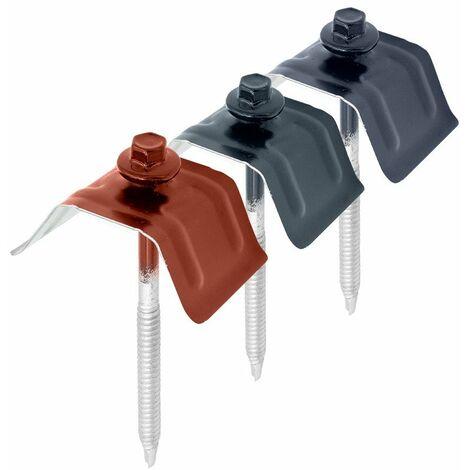 50 Kits de Fixation Sommet d'Onde pour Tôle Axel®   Coloris: Rouge Tuile   RAL 8012 - Dimension vis: 6.3 x 75 mm (support acier)