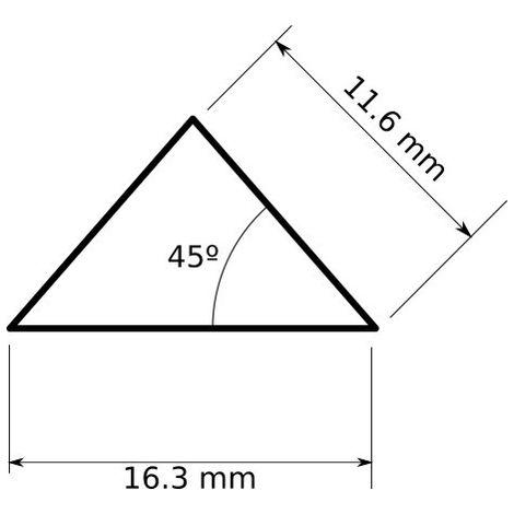 jandei Perfil aluminio tira led 2 metros triangular isósceles 16,3 x 11,3 45º