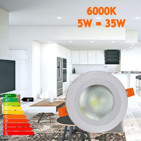 Jandei Downlight LED COB redondo empotrar, 5W 500 lúmenes (= bombilla 50W), luz blanca fria 6000K para salón, cocina, tienda, negocio, oficina