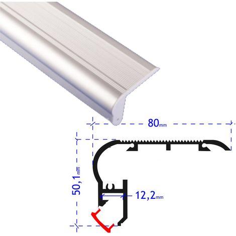 jandei Perfil aluminio tira led 2 metros para escalera canto huella contra huella