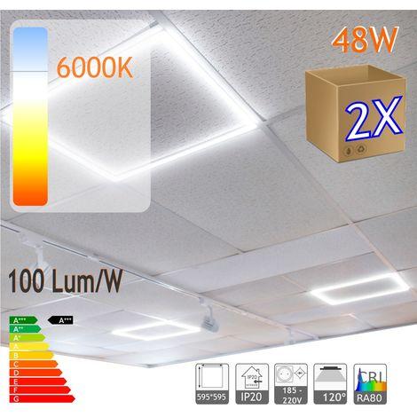 jandei 2X Marco luminoso panel led cuadrado 60x60cm 48W 4800 lumenes (=250W) luz blanca 6000K, falso techo, oficina, negocio, galeria, expsicón