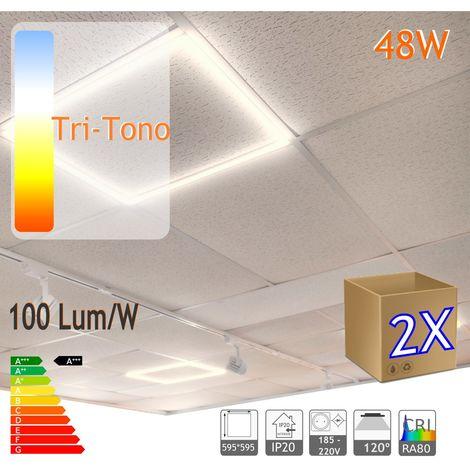 jandei 2X Marco luminoso panel led cuadrado 60x60cm tri color 6000-4000-3000K cambio automático 48W 4800 lumenes (=250W), falso techo, oficina, negocio, galeria, expsicón