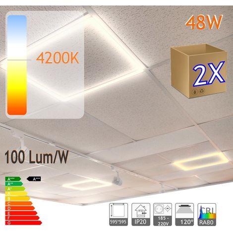 jandei 2X Marco luminoso panel led cuadrado 60x60cm 48W 4800 lumenes (=250W) luz blanca 4200K, falso techo, oficina, negocio, galeria, expsicón