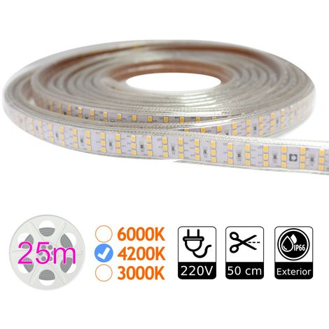 jandei Tira led triple alta potencia 4200K 276 led metro 220V exterior bobina 25m, iluminación y decoración