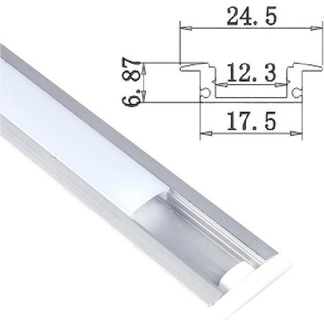 jandei Perfil Aluminio Tira led 2 Metros empotrar Tapa Redondeada traslúcida 24,5x17,5mm