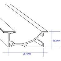 Jandei Perfil Aluminio Tira led 2 Metros zocalo 76,4 * 26,2mm con Tapa