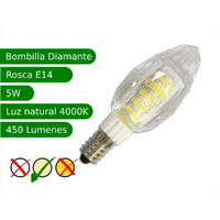 Jandei Bombilla LED E14 5W diamante blanco 4000ºK natural alto rendimiento lámparas decorativas