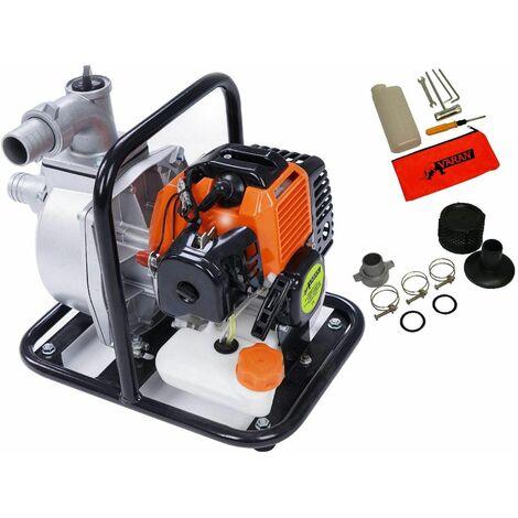 Varan Motors - TT-WP520-15B Pompe à eau thermique Motopompe Essence 2T 1.5'' 52cc 3CV 15000 L/H - Orange