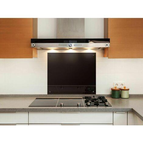 Bc-elec - AKG06-7055 Crédence de cuisine en verre noir brillant 70x55cm, verre securit trempé 6mm, fond de hotte - Noir