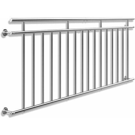 Bc-elec - HBR9225-KD Garde-corps de porte fenêtre 225x90cm balustrade main courante rambarde acier inoxydable - Gris
