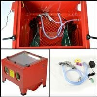 Varan Motors - NESB-09-B Cabine de sablage, sableuse à manchons microbilleuse 90 litres avec Accessoires - Rouge
