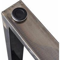 Bc-elec - HM6072-S 2 Pieds de table en acier vernis format rectangulaire 60x72cm, Pieds pour meubles, Pieds de table métal - Gris