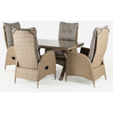 Conjunto muebles exterior | Mesa 140x80 cm y 4 sillones reclinables | Aluminio y rattán sintético plano color natural | 4 plazas | Cristal templado 5 mm | Portes gratis - Natural-plano