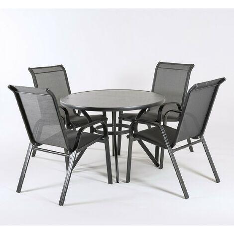 Conjunto de terraza   Mesa redonda de 105 cm de diámetro y 4 sillones de aluminio color antracita.