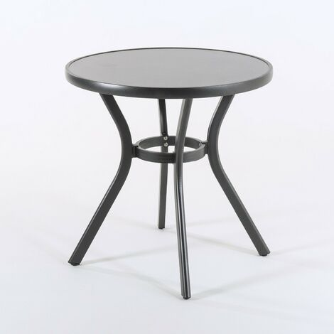 Mesa de terraza redonda | Tamaño: 72x72 cm | Aluminio y cristal templado con acabado cerámico