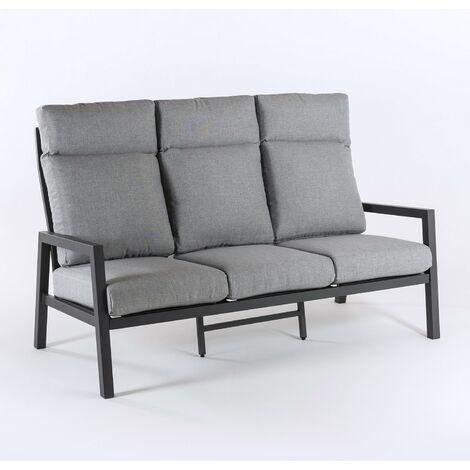 Sofá jardín de aluminio reforzado color antracita | 3 plazas | Cojines color gris | Altura 104 cm