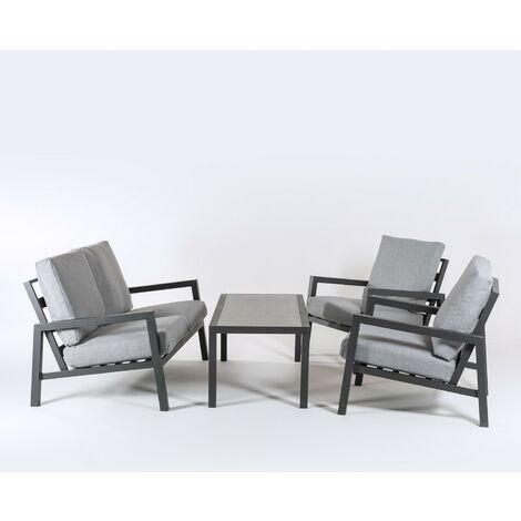 Conjunto sofás jardín | Aluminio reforzado color antracita | Sofá 2 plazas + 2 sillones + Mesita café | 4 plazas | Cojines color gris