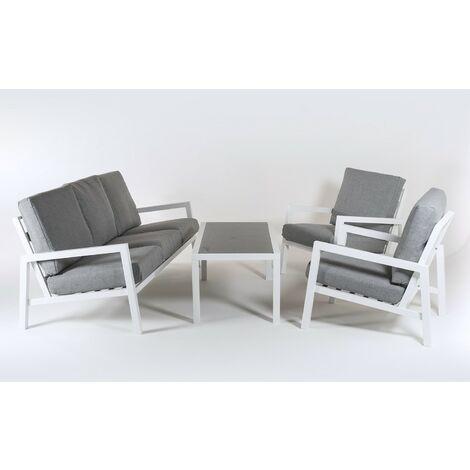 Conjunto sofás jardín   Aluminio Reforzado Color Blanco   Sofá 3 plazas + 2 sillones + Mesita café   5 plazas   Cojines Color Gris