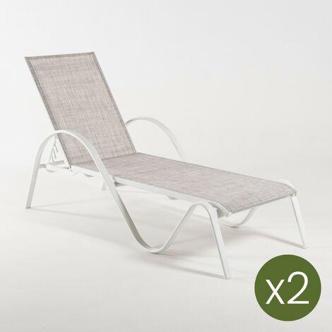 Pack 2 tumbonas jardín reclinable y apilable | Tamaño: 203x64x33 cm | Aluminio blanco y textilene color taupé jaspeado