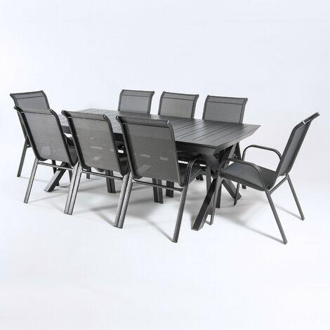 Conjunto de exterior | Mesa jardín extensible 215/295 cm y 8 sillones apilables con respaldo de 98 cm | Aluminio color antracita | 8 plazas